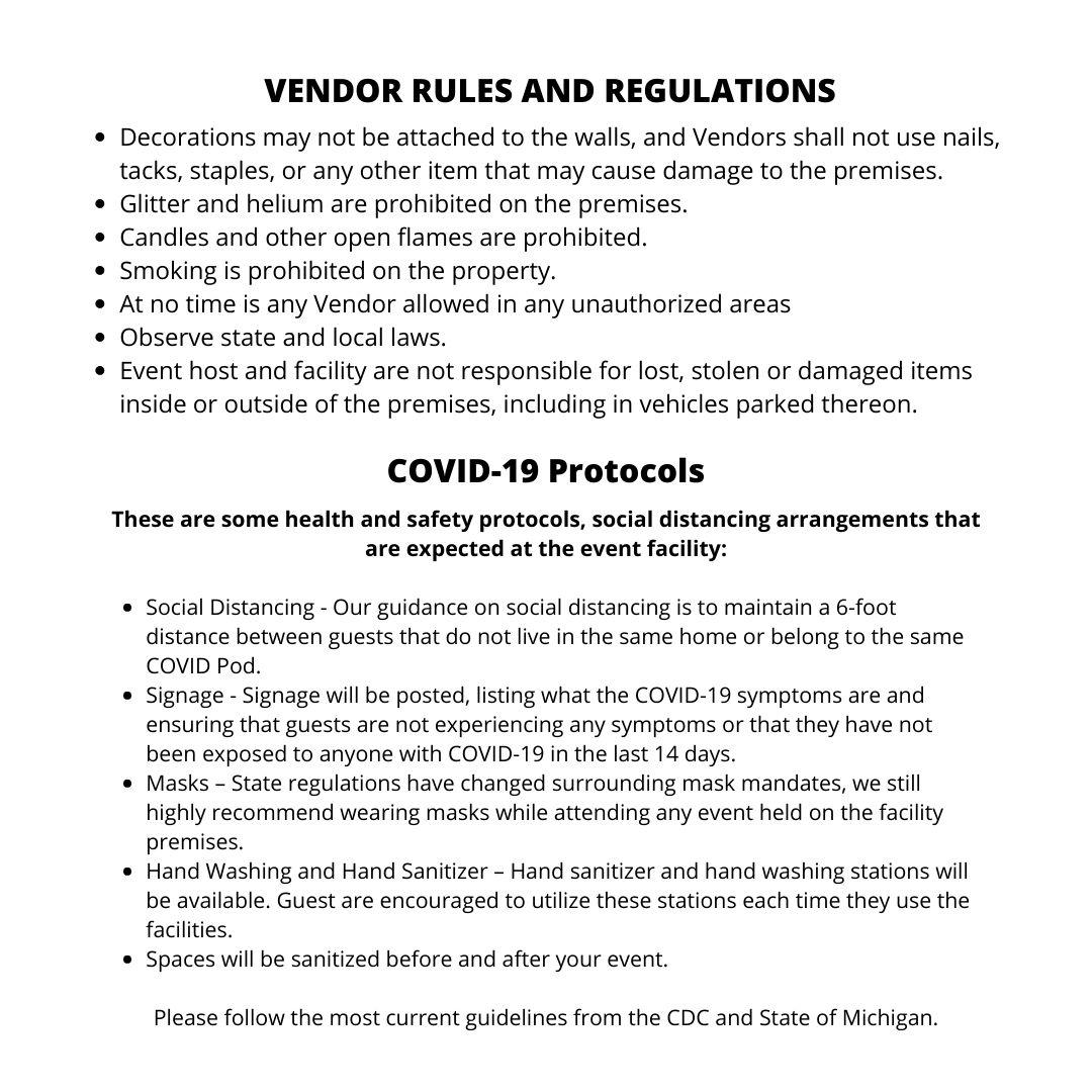 Event Facility Rules & Protocols